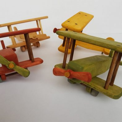 Wooden airplane toy, wooden biplane toy, gifts for kids